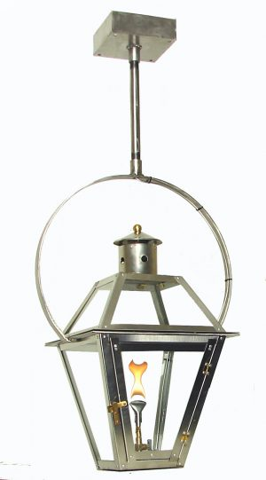 Stainless Steel French Quarter Lantern with PREMIUM Stainless Steel Hurricane Yoke