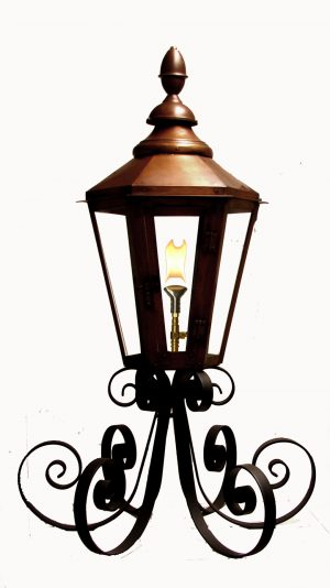 "25"" Six Sided London Street lantern on custom ""Super-Scrolled"" Column Mount"